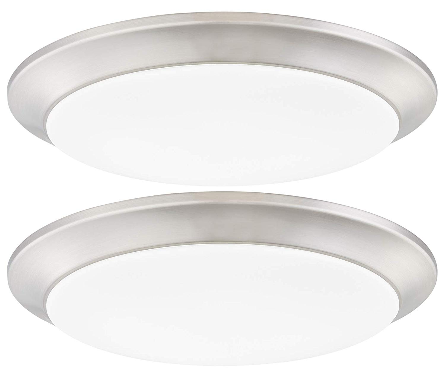 Gruenlich Led Flush Mount Ceiling Lighting Fixture 7 Inch Dimmable 12w 75w Replacement 840 Lumen Metal Housing With Nickel Finish Etl And Damp Location Rated 2 Pack Buy Ceiling Light Led Ceiling
