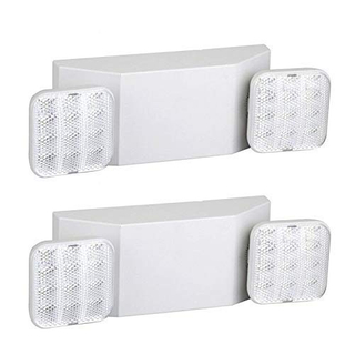 Back Up Batteries- US Standard Red Letter Emergency Exit Lighting UL 924 Qualified 4-Pack 120-277 Voltage Gruenlich LED Combo Emergency EXIT Sign with 2 Adjustable Head Lights and Double Face